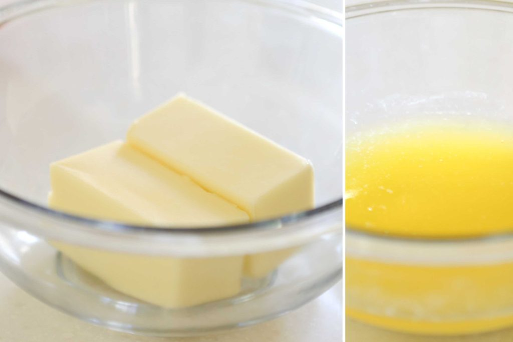 Melt and cool 1 cup butter
