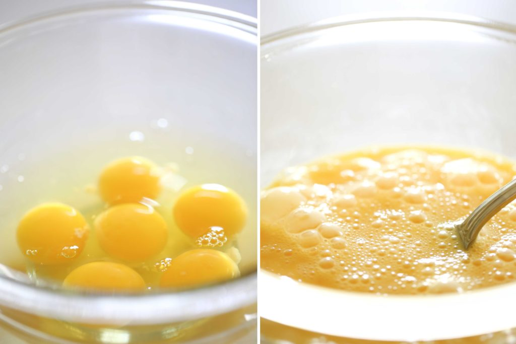 In a separate bowl, beat 6 eggs