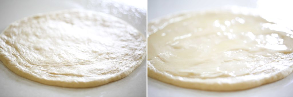 With a rolling pin, roll each ball into a circle. (Approximately 14 inches in diameter) Spread 1 tablespoon of softened butter on each circle.