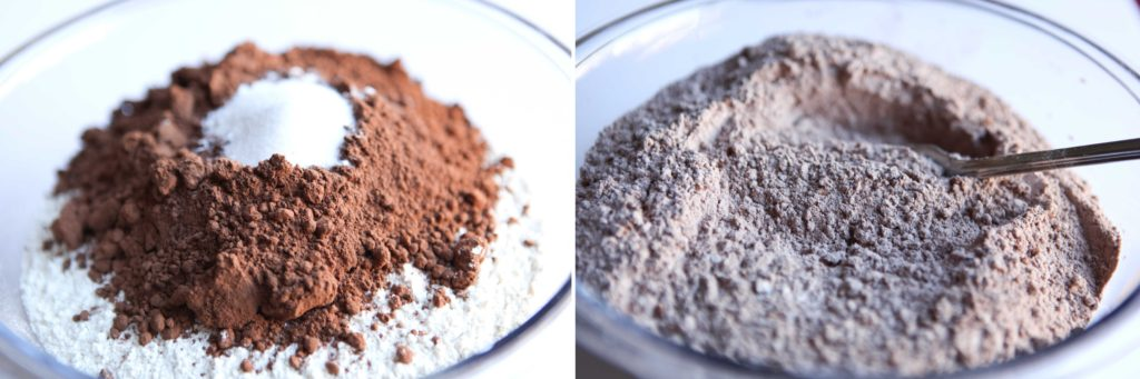 Combine flour, cocoa, salt and baking soda in a bowl and mix with a fork.