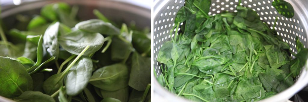 Steam fresh spinach about 5 minutes or until wilted. Drain until cool,