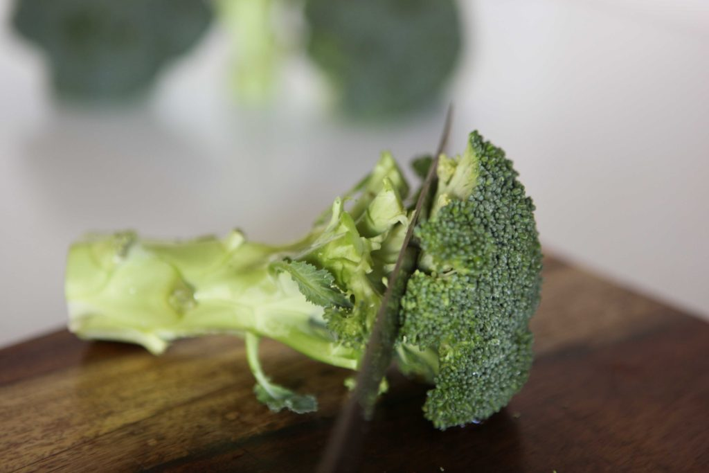 Wash and chop the broccoli. I only use the florets, but you can use the stem, as well.