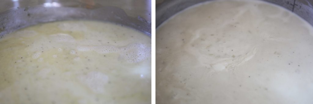 Add milk and whisk until the mixture boils.