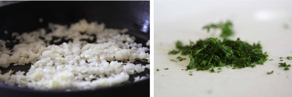 Here are two optional items. 1. Saute your onions and let them cool, or just put them in raw. 2. Chop some fresh parsley, or just use dry.