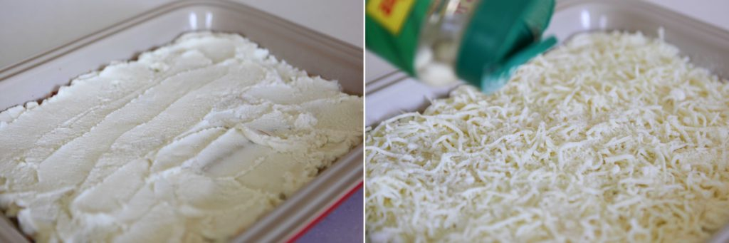 Spread all of the ricotta on top of the noodles, and sprinkle with mozzarella and Parmesan.
