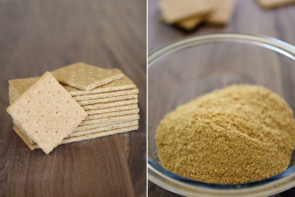 Start with 1 ½ cups graham cracker crumbs (11 graham crackers)