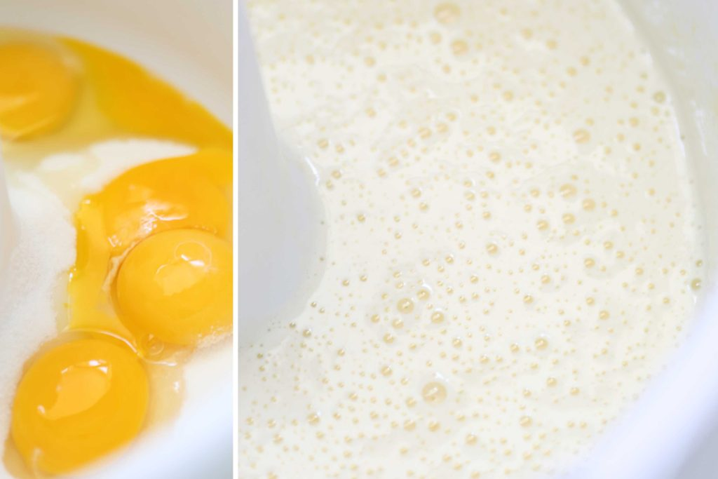 In a mixer bowl, beat: 4 eggs (at room temperature) 1 cup granulated sugar