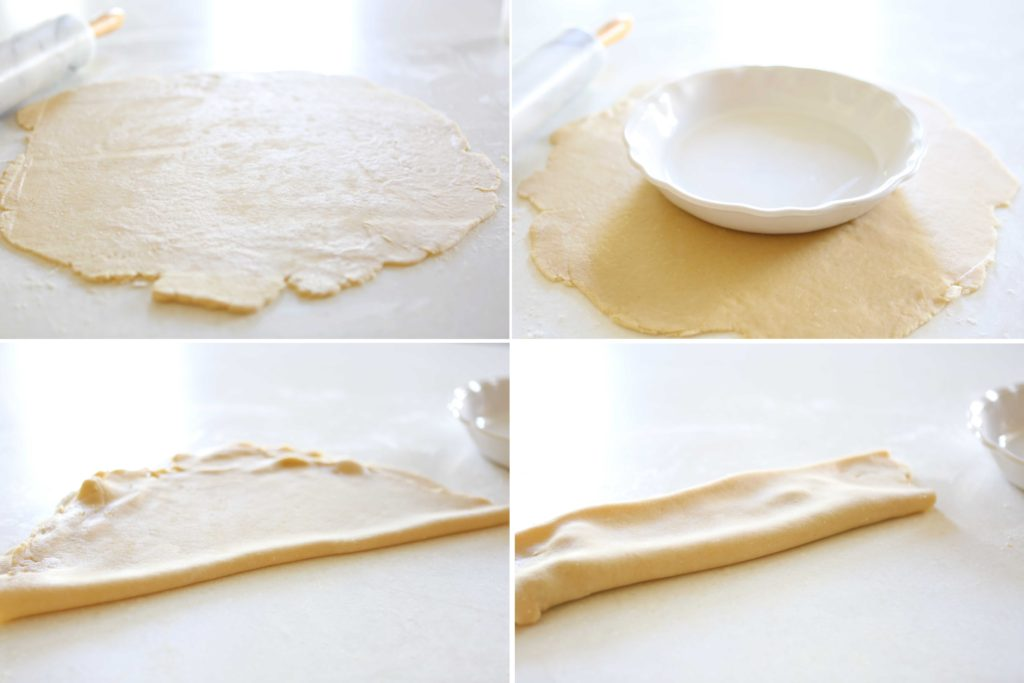 Roll out half of the dough into a very thin circle. Make sure that it's much larger than your pie plate. Gently fold the circle in half once. then again.