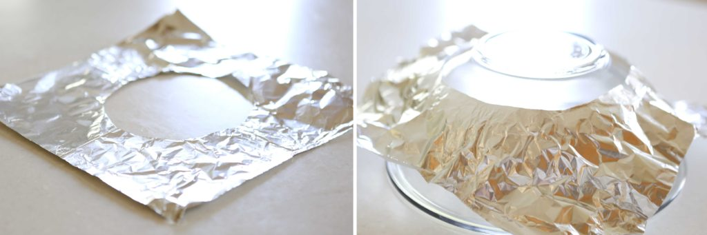 Unfold the foil, and flatten out the creases. Then shape it over an inverted mixing bowl.