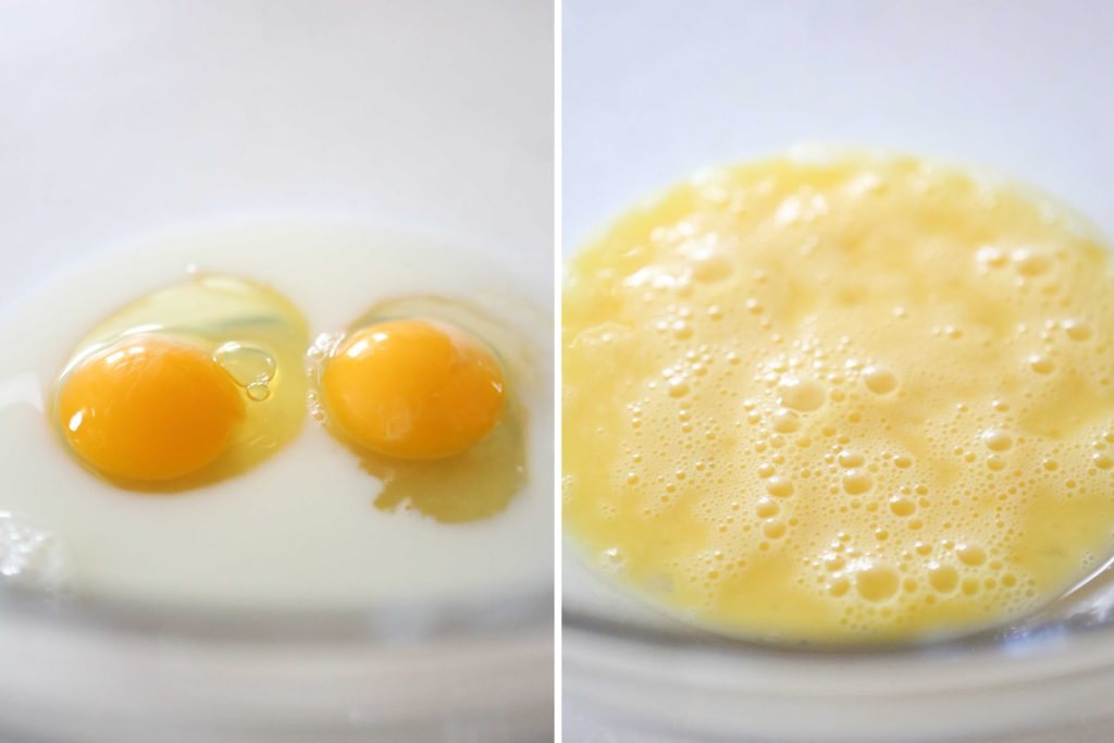 In a large mixing bowl, whisk together: 2 eggs ¼ cup milk