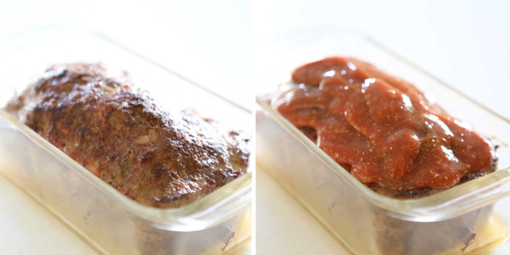 Remove meat loaf from oven, and spread with sauce. Return to oven for another 20-30 minutes.