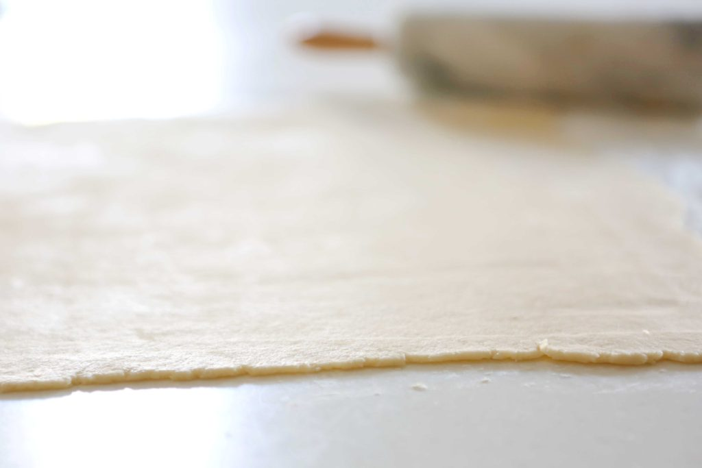 On a lightly floured surface roll out the dough in a thin rectangle.