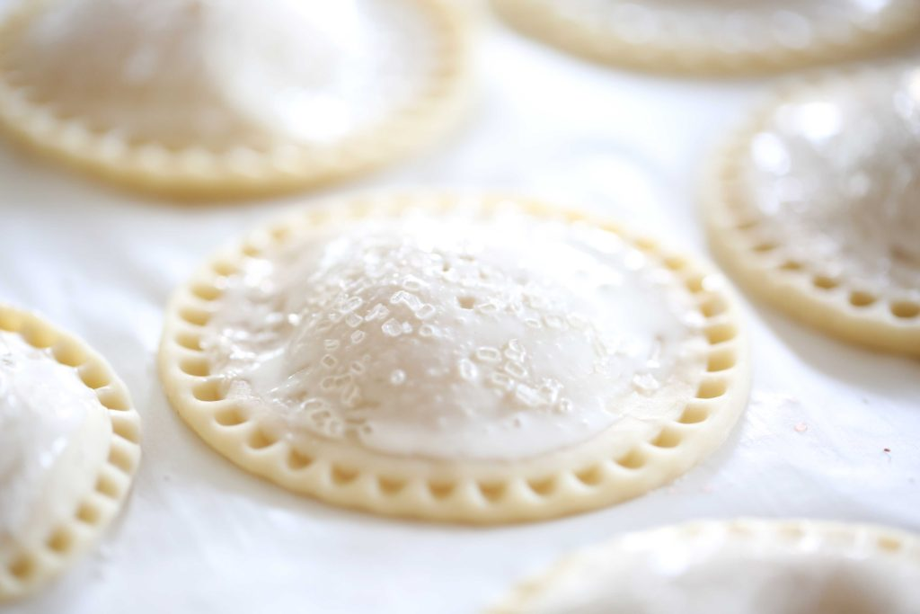 Sprinkle tops with decorative sugar, and either freeze or bake at 350 degrees for 20 minutes.