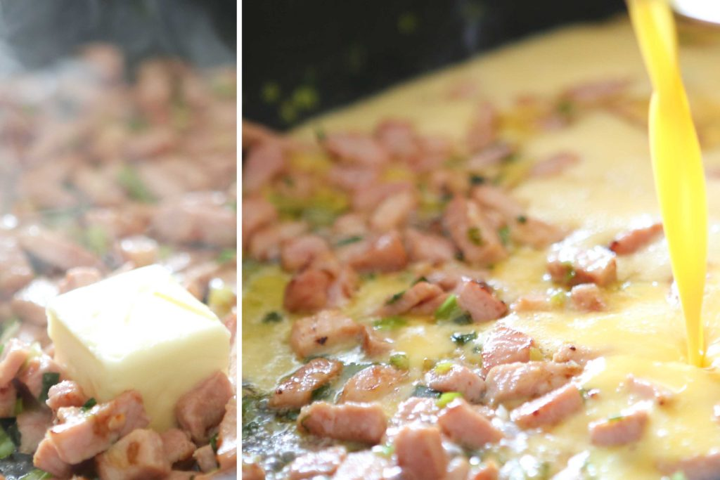 Add 2 tablespoons butter to the ham mixture, and when it's melted, pour in the eggs. Scramble.