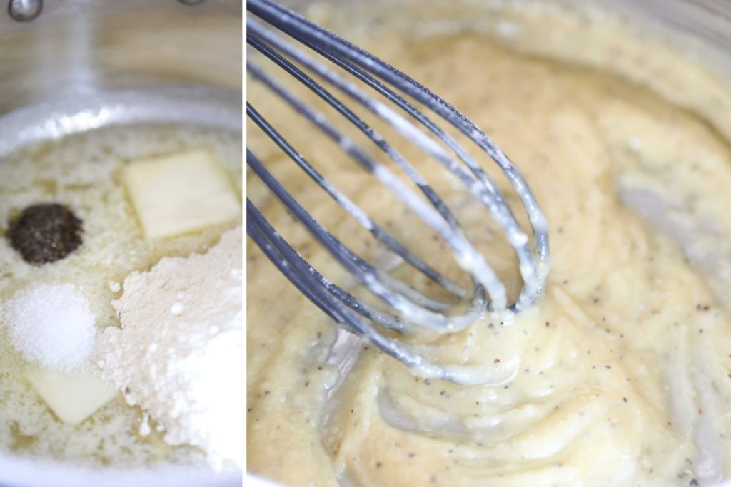 In a medium-sized sauce pan, whisk together 2 Tablespoon butter, melted 2 Tablespoons flour ½ teaspoon salt dash pepper