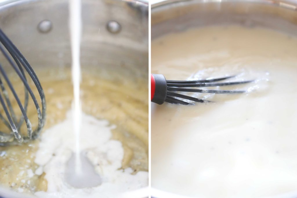 Add 2 cups milk Stir until it bubbles.
