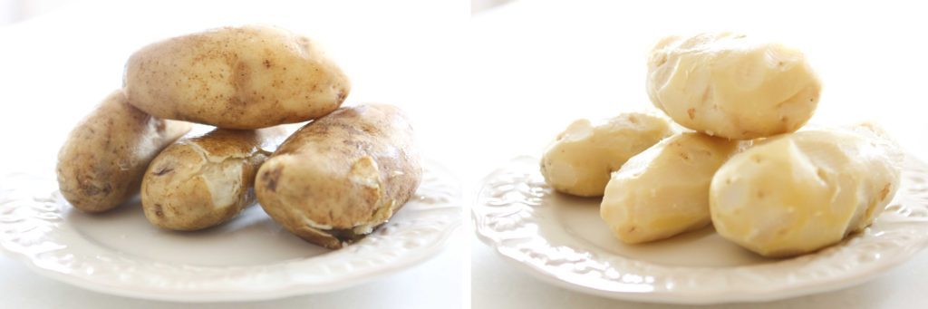Cook, cool, and peel 4 medium-large potatoes I pressure cook mine for 10 minutes, but you could bake or boil them, as well.
