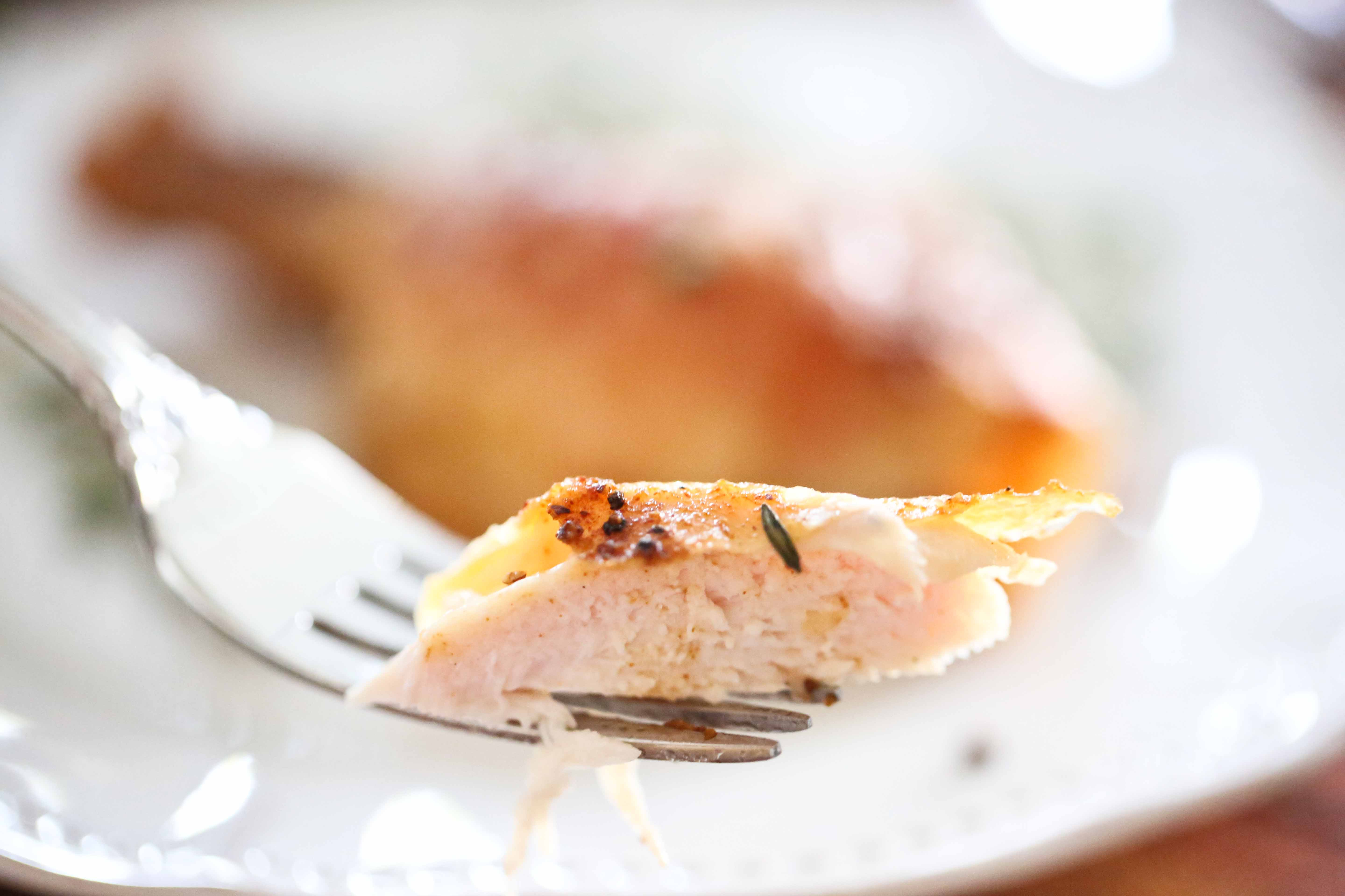 a bite of Roasted Chicken