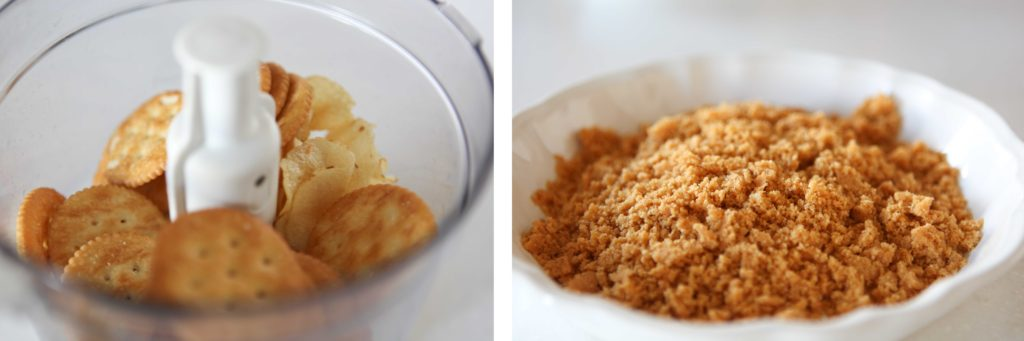 Put crumbs in a pie plate. I make my own by processing crackers and BBQ flavored potato chips.