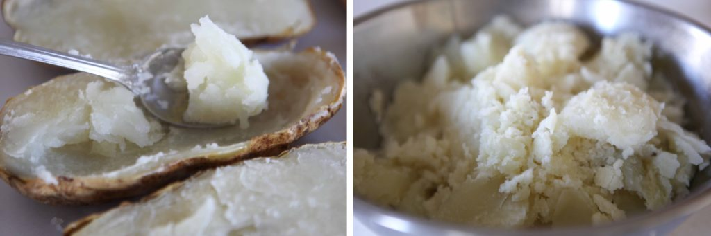 Scoop out the pulp, and put it in a mixing bowl.