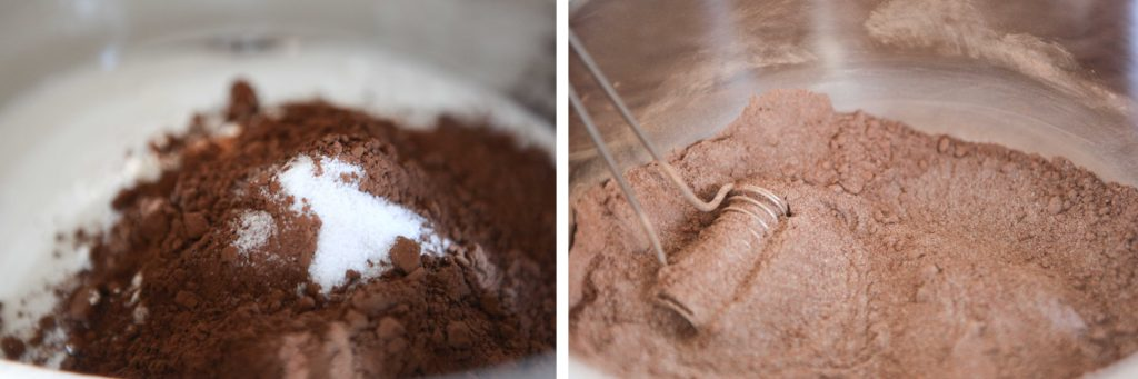 Combine the sugar, cocoa, cornstarch, and salt in a 6 quart pot.