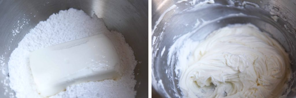 Combine the powdered sugar and cream cheese, and beat until smooth.