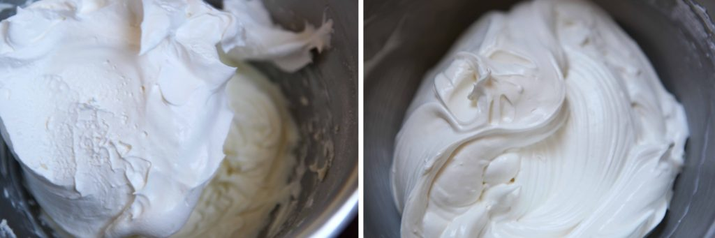 Add the whipped topping and continue to beat until combined and creamy.