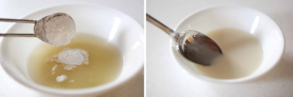 Combine 3 tablespoons cool chicken broth (or water) with 2 teaspoons cornstarch.