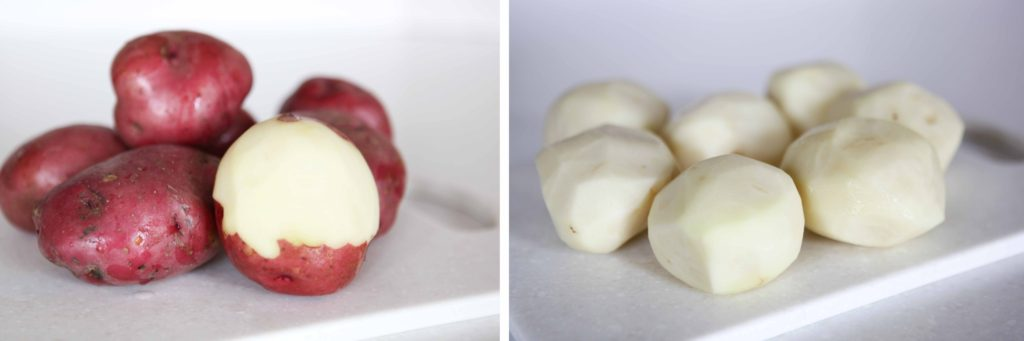 Wash and peel the potatoes. I used red, but any variety will work.