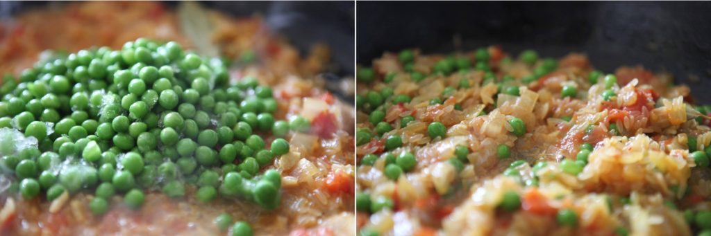 Stir in the peas (or beans).