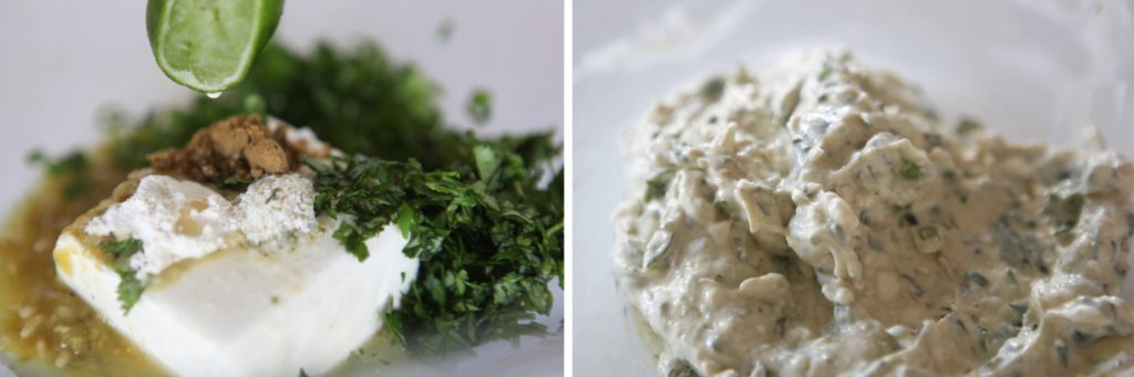 Soften cream cheese in microwave for 30 seconds. Add green salsa, lime juice, cumin, onion powder, salt, garlic salt, cilantro, and green onion. Mix thoroughly.