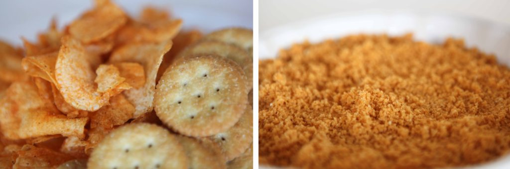 Make crumbs out of barbecue flavored potato chips and butter crackers.