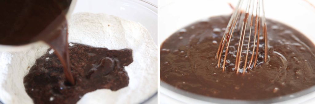 Pour hot cocoa mixture over flour mixture, and whisk to combine.