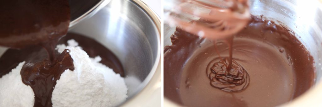 Stir in vanilla and powdered sugar, and whisk until smooth.
