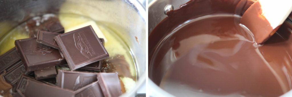 Melt butter and chocolate together until smooth.