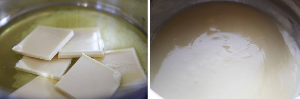 Melt butter and white chocolate until smooth.