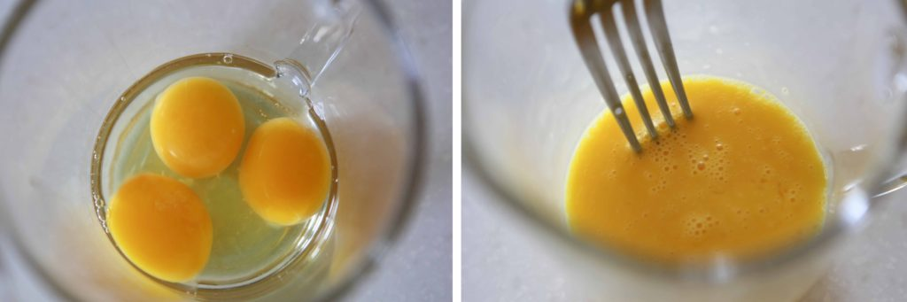 Combine one whole egg and two yolks and whisk with a fork until fully combined and bubbly.