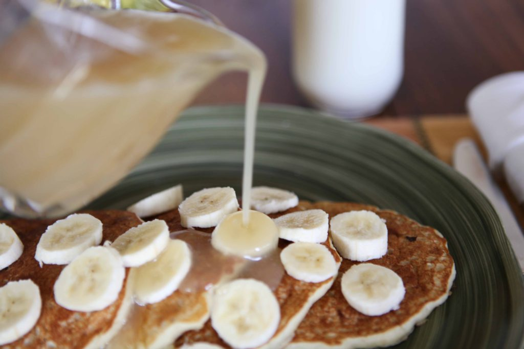 Serve with Vanilla Syrup and sliced bananas or your favorite topping.