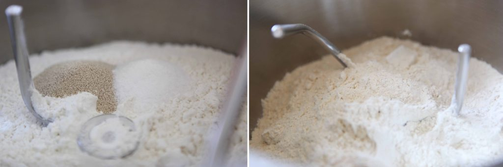 In mixing bowl, combine bread flour, sugar, and yeast, and whisk together.