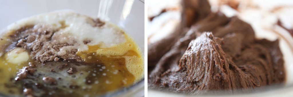 Combine brownie mix, egg, buttermilk, butter and vanilla, and mix just until incorporated.