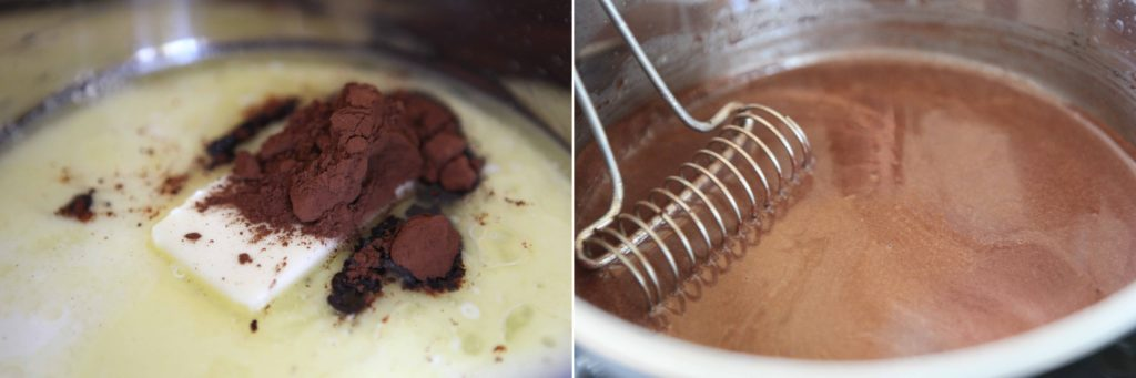 Melt butter over low heat, in a 3-quart sauce pan. Whisk in milk and cocoa powder. Stirring constantly, turn heat up to medium/high, and cook until it thickens, but doesn't boil.