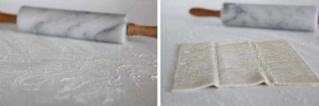 Place one sheet of puff pastry on lightly floured surface.