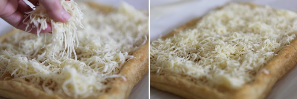 Fill crust with Gruyere.