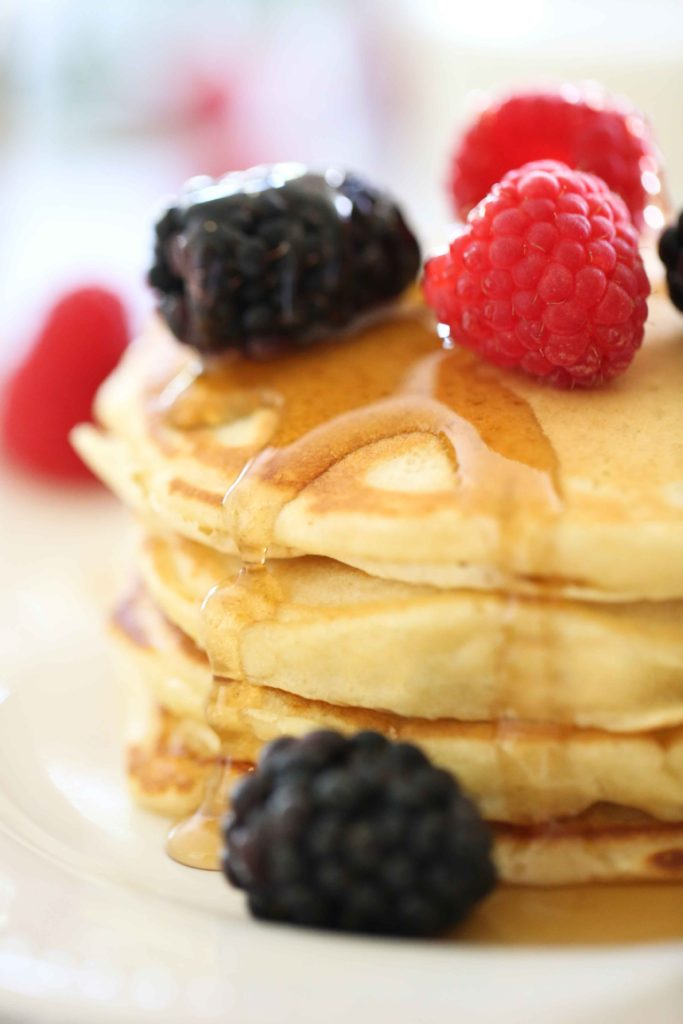 Gorgeous Buttermilk Pancakes with maple syrup