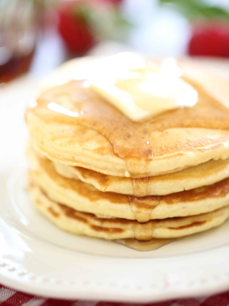 Perfect Pancakes with butter and maple syrup