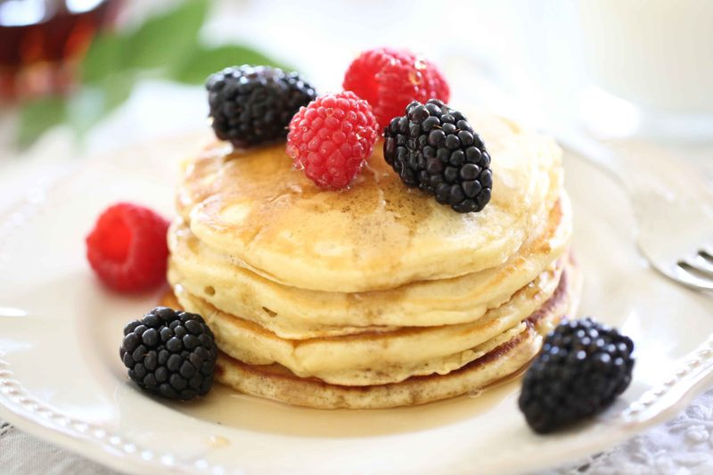 Beautiful Buttermilk Pancakes with maple syrup
