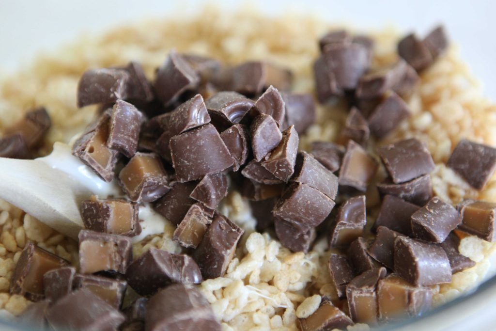 Fold in chopped candies, but don't over mix because the chocolate will begin to melt.