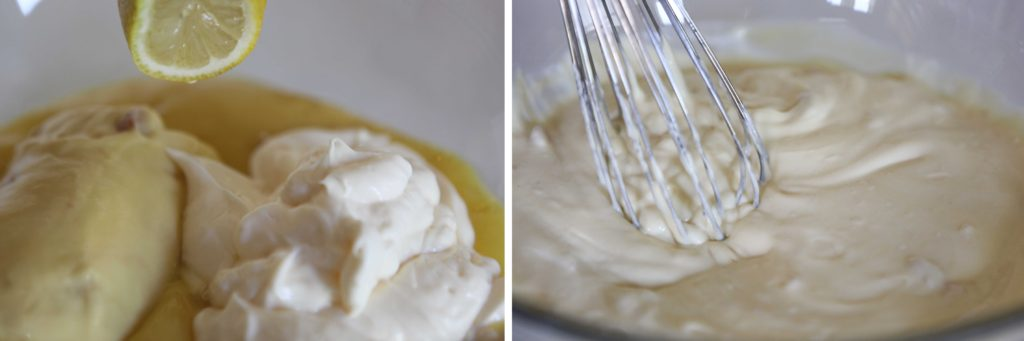 Combine soup, mayonnaise, and lemon juice, and whisk.