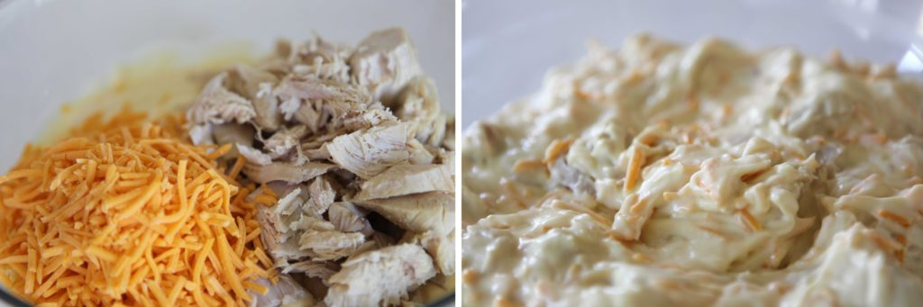 Add chopped chicken and 1 cup of shredded cheese.