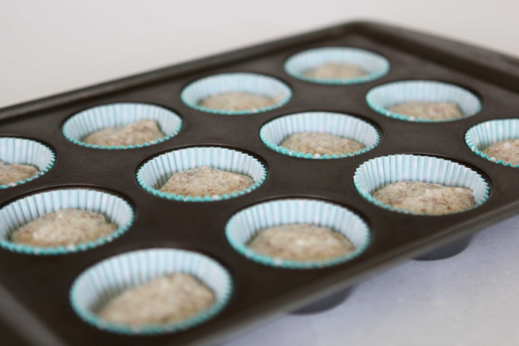 Fill prepared muffin tins 2/3 of the way. Then bake at 375 for 20 minutes.